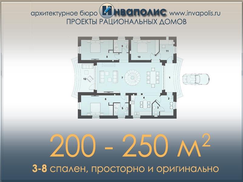 Готовые проекты домов от 200 до 250 м2 из пеноблоков, газобетона, газосиликатных блоков и кирпича