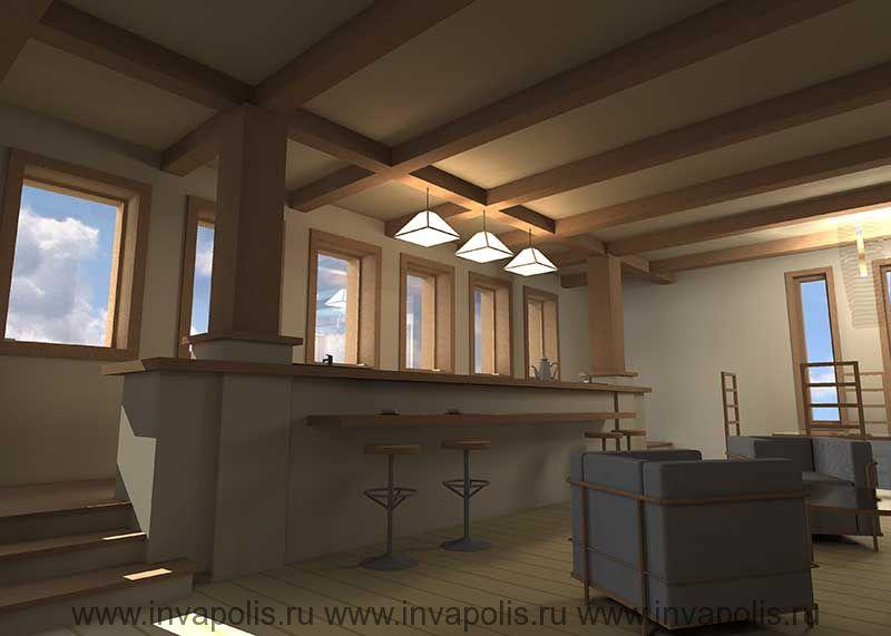 Барная стойка на подиуме. Проект интерьеров дома В СТИЛЕ ЛЛОЙДА РАЙТА