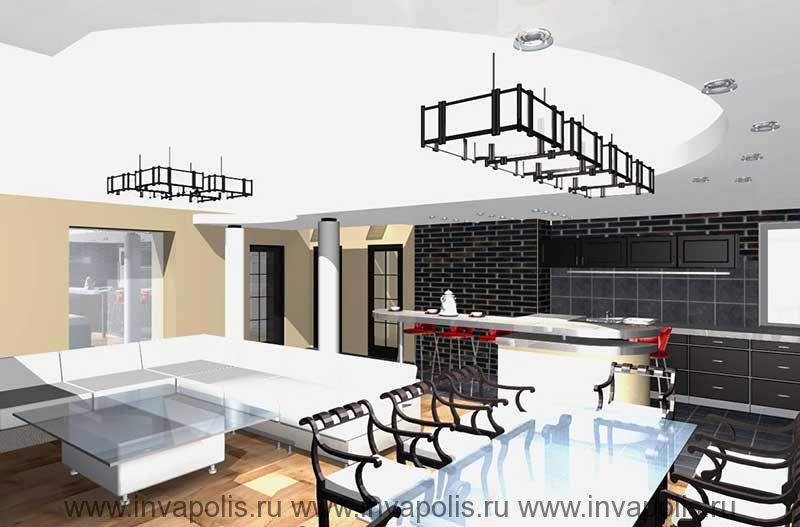 Барная стойка в гостиной. Проект интерьеров квартиры в СТУПИНО