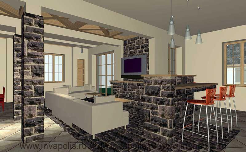 Барная стойка в гостиной. Проект реконструкции и интерьеров коттеджа НА НОВОРИЖСКОМ