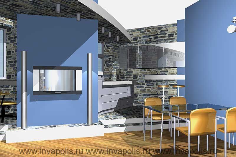 Барная стойка в кухне. Проект интерьеров трехкомнатной квартиры