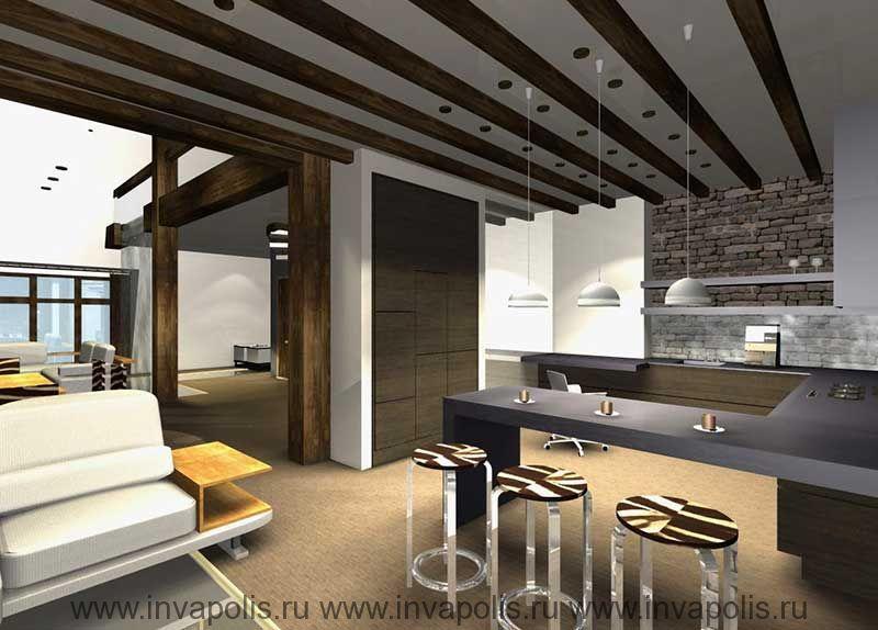Барная стойка в малой гостиной. Проект интерьеров  двухуровневой квартиры. КОНКУРС NEUHAUS