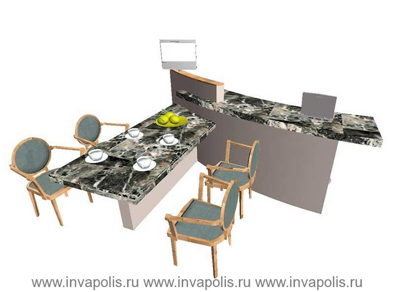 Барная стойка в столовой  первого этажа. Проект интерьеров особняка в СТУПИНО