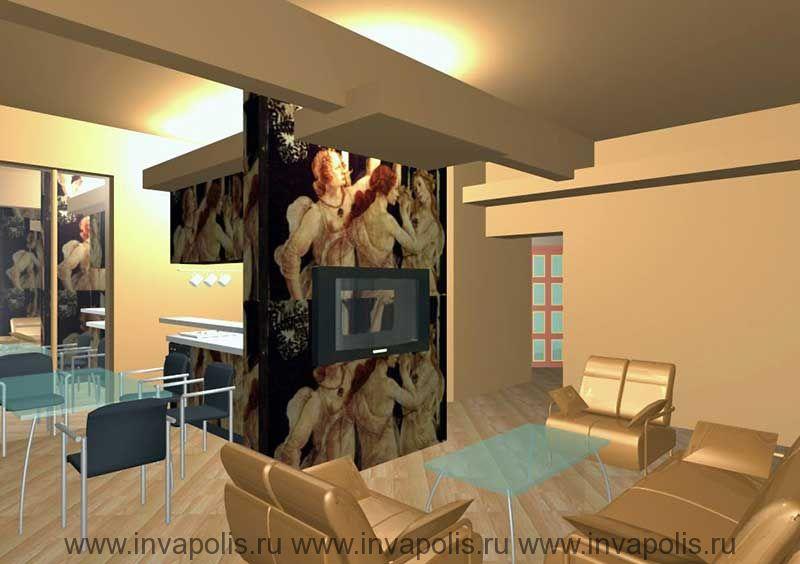Барная стойка в столовой квартиры. Проект интерьеров квартиры В ОСТАНКИНО
