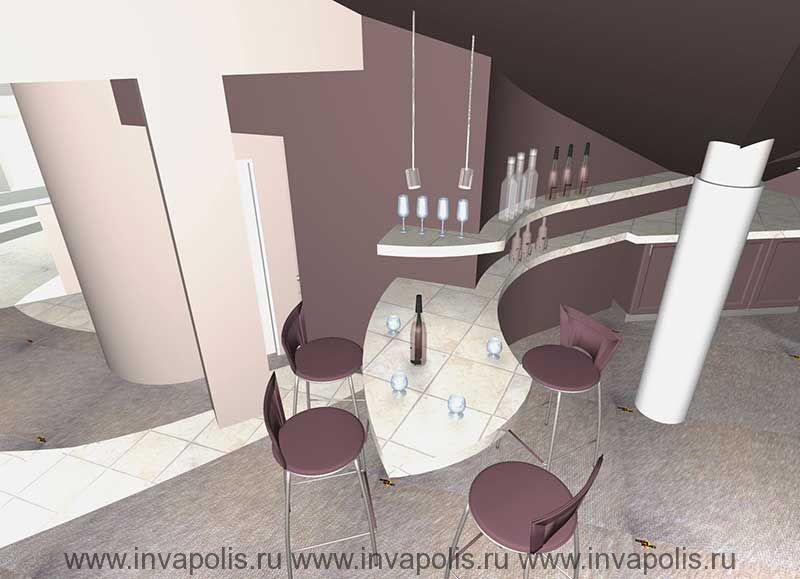 Барная стойка мини кухни в мансардном этаже. Проект интерьеров  особняка в СТУПИНО