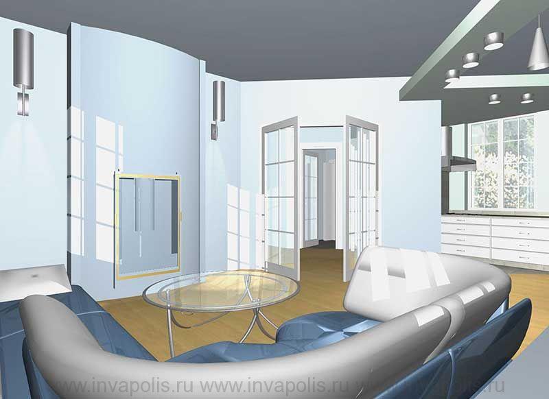 Гостиная-диванная в интерьерах небольшого шестикомнатного дома КОМФОРТ