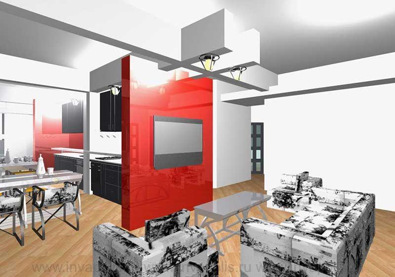Диванная в интерьерах реконструированной трехкомнатной квартиры НА КОРОЛЕВА