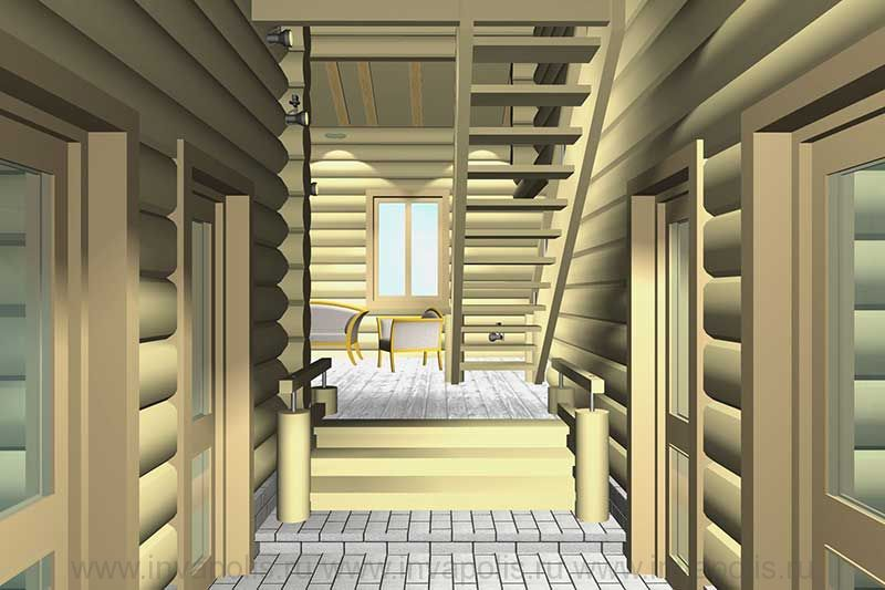 Холл 1-го этажа в проекте интерьеров сруба АНДРЕАПОЛЬ