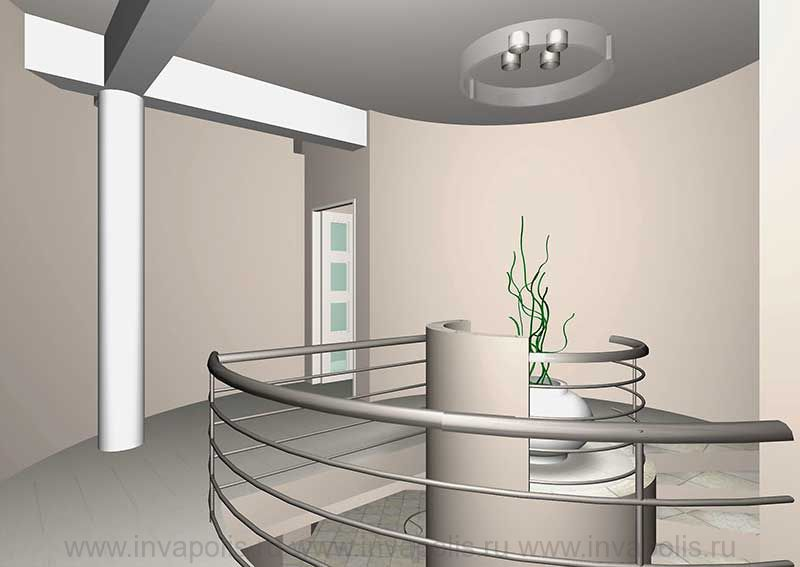 Холл 2-го этажа в проекте интерьеров особняка В СТУПИНО