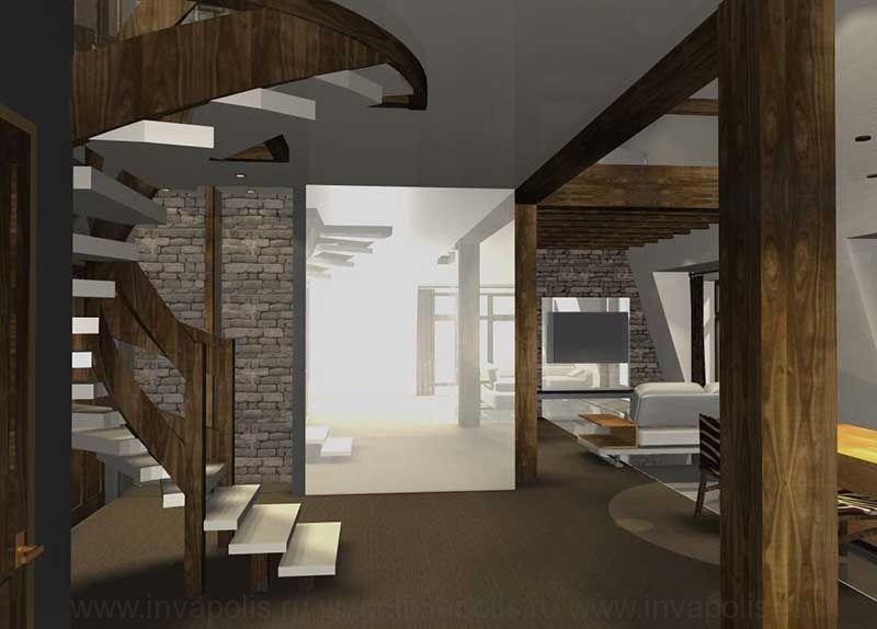 Холл в проекте иртерьеров двухуровневой квартиры. КОНКУРС NEUHAUS