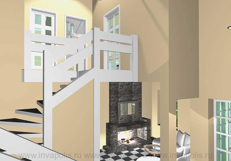 Холл мансардного этажа в интерьерах дома КРОХА
