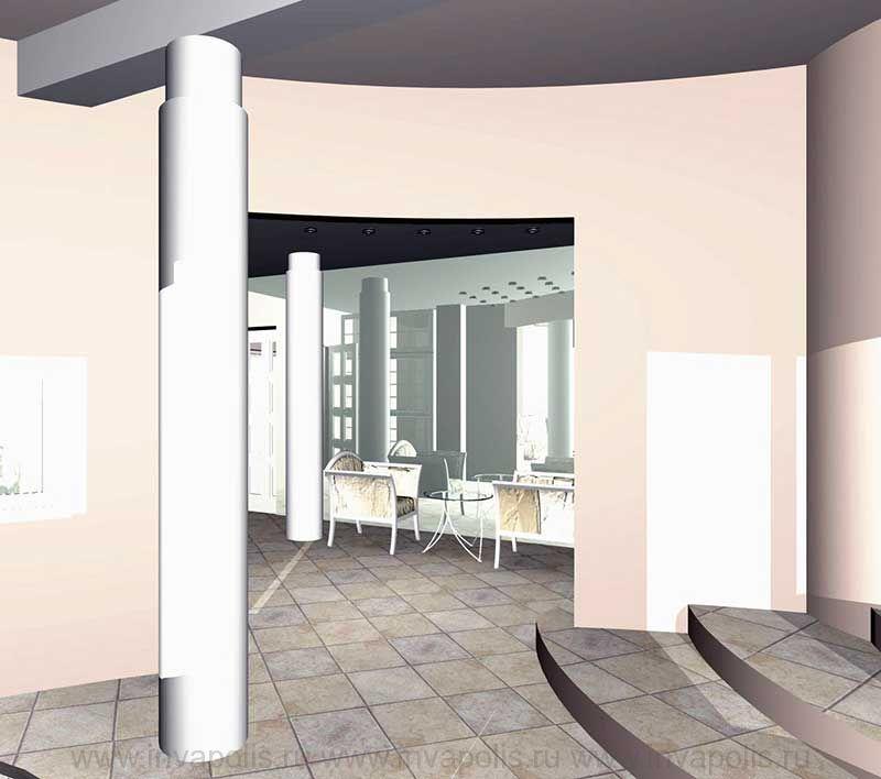 Холл первого этажа в проекте интерьеров особняка В СТУПИНО