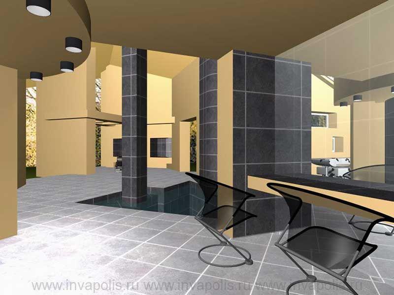 Холл сауны в проекте интерьеров гостевого дома С ВОДОПАДОМ