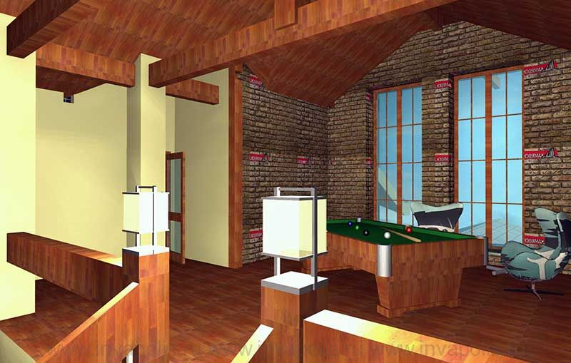 Холл-бильярдная в мансардном этаже проекта интерьеров особняка ГИЛЬДИЯ