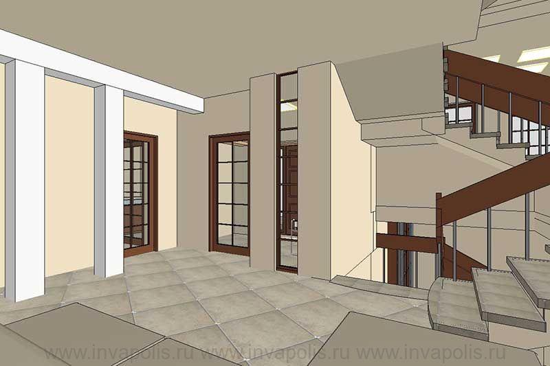 Холл-прихожая проекта интерьеров особняка ЯНТАРЬ