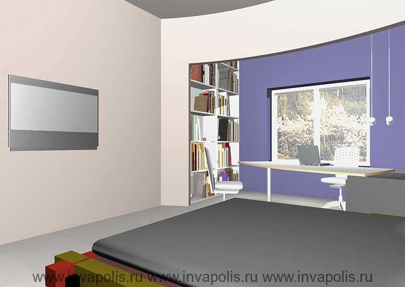 Встроенная в нишу стены мебель  кабинета. Проект интерьеров особняка В СТУПИНО