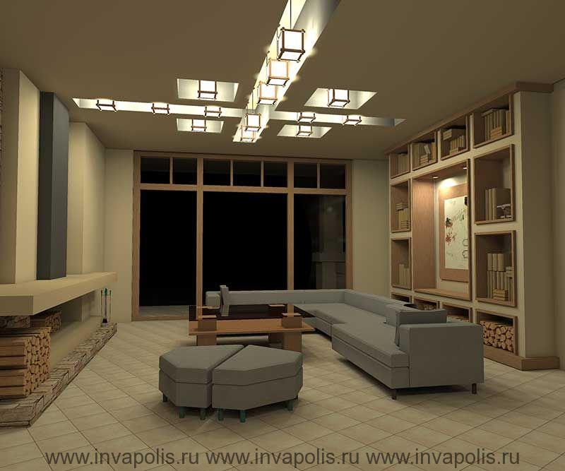 Встроенная в нишу стены мебель гостиной . Проект интерьеров дома В СТИЛЕ ЛЛОЙДА РАЙТА