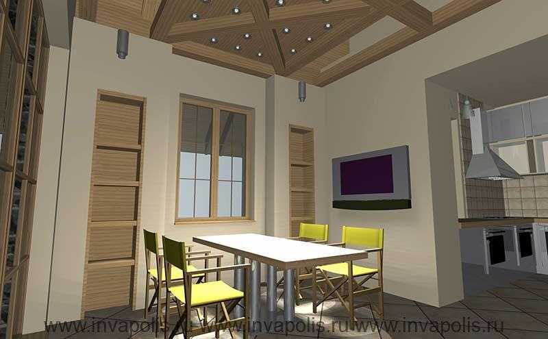 Встроенная в нишу стены мебель кухни-столовой. Проект интерьеров коттеджа НА НОВОРИЖСКОЙ