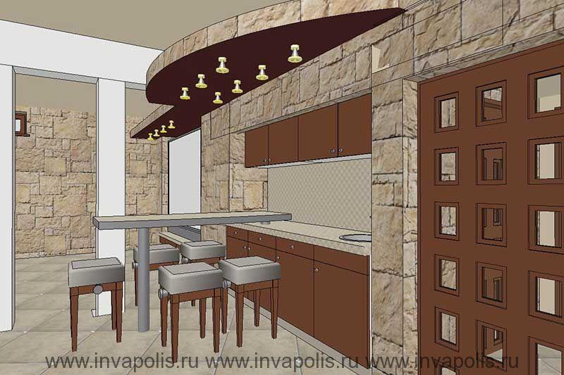 Встроенная в нишу стены мебель мини-кухни. Проект интерьеров черырехуровневого дома ЯНТАРЬ