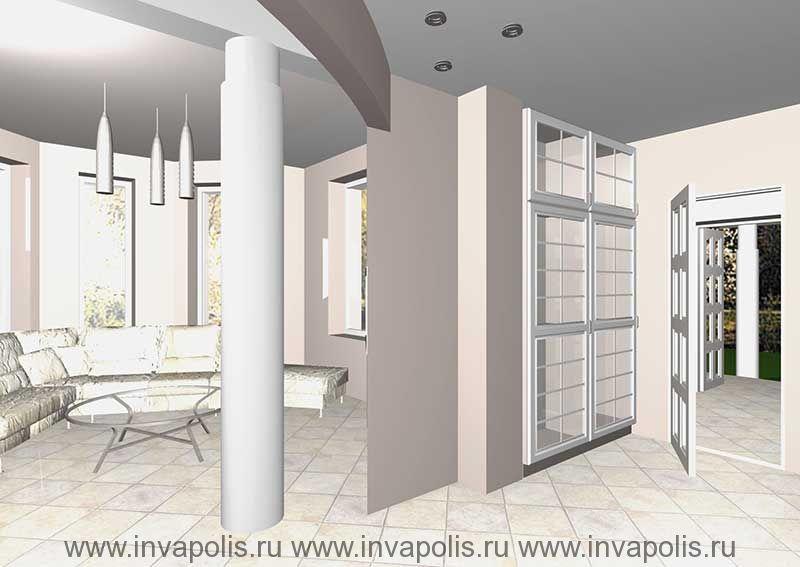 Встроенная в нишу стены мебель прихожей. Проект интерьеров особняка В СТУПИНО