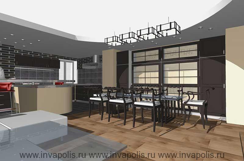 Встроенная в нишу стены мебель гостиной. Проект интерьеров квартиры В СТУПИНО