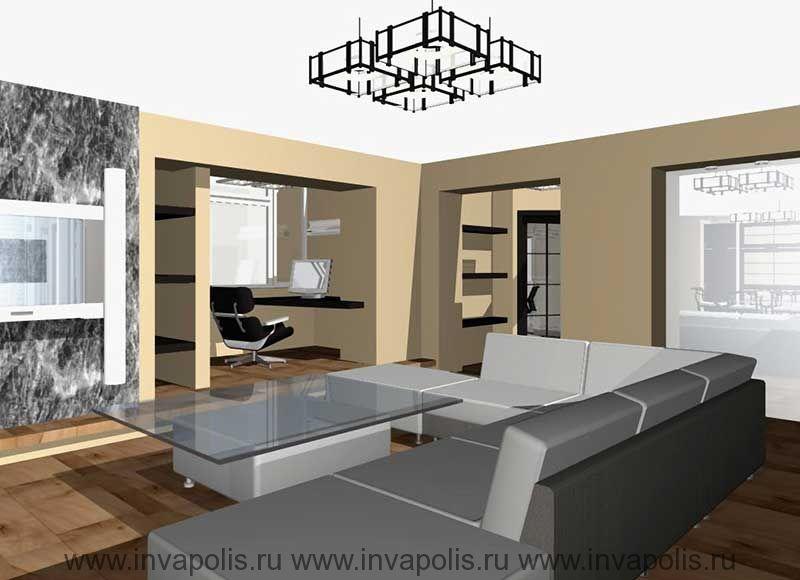 Встроенные в нишу стены мебель кабинета. Проект интерьеров квартиры В СТУПИНО