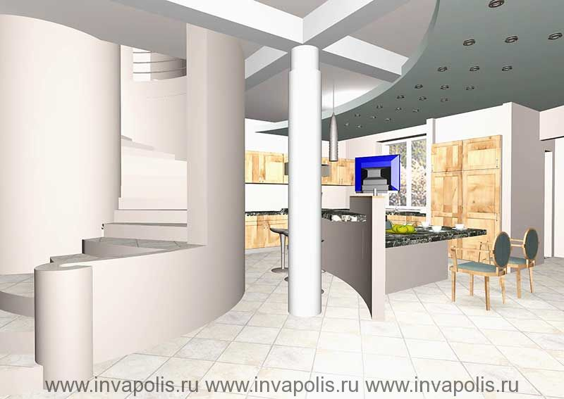 Встроенные в нишу стены мебель кухни-столовой. Проект интерьеров особняка В СТУПИНО