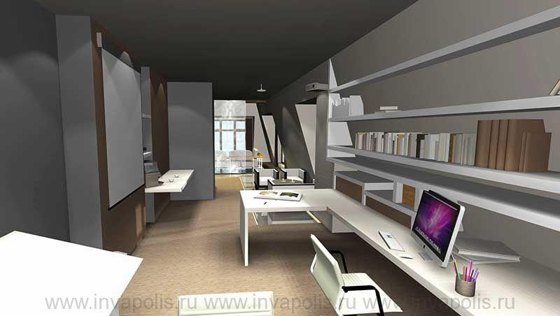 Рабочий кабинет интереров двухуровневой квартиры. КОНКУРС NEUHAUS
