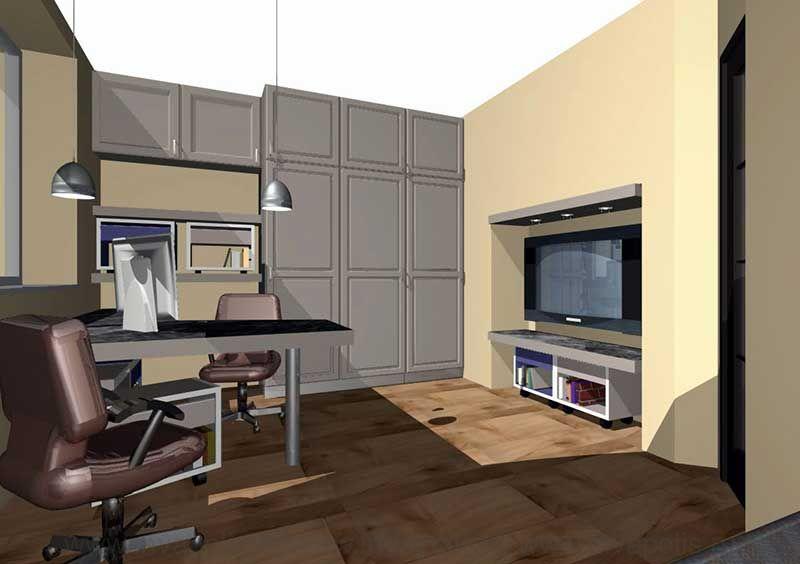 Кабинет в интерьере реконструированной патикомнатной  квартиры в СТУПИНО