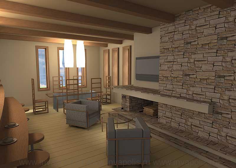 Малый камин кухни-столовой в стиле минимализм. Проект дома В СТИЛЕ ЛЛОЙДА РАЙТА