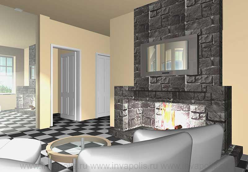 Брутальный камин. Проект интерьеров дома КРОХА