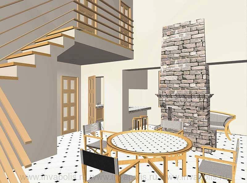 Камин в стиле кантри в двусветном пространстве дома. Проект интерьеров дома   БУНГАЛО