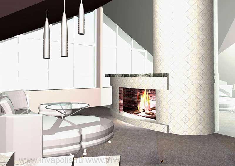 Камин в стиле авангард в мансардном этаже. Проект интерьеров особняка В СТУПИНО