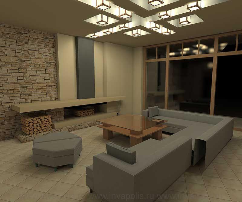 Камин в стиле - минимализм. Проект интерьеров дома в СТИЛЕ ЛЛОЙДА РАЙТА