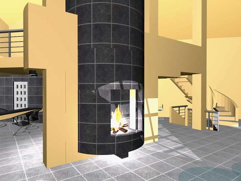 Камин в стиле авангард. Проект интерьеров гостевого дома с водопадом