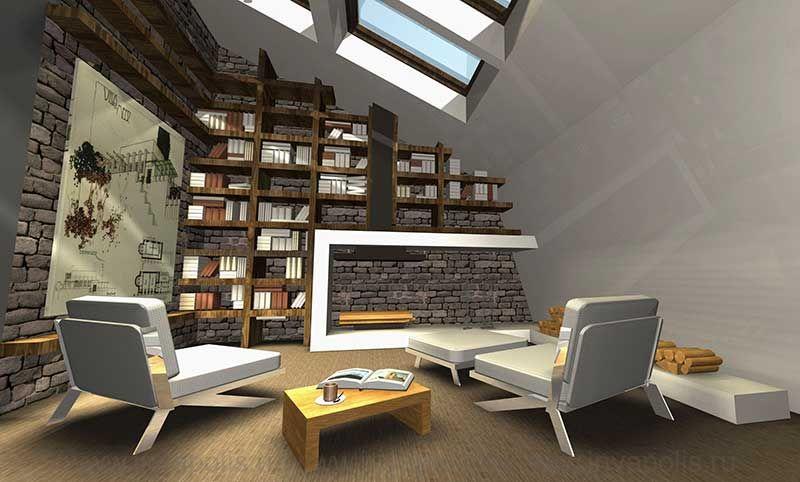 Камин в стиле хай-тек. Проект интерьеров двухуровневой квартиры в мансарде. КОНКУРС NEUHAUS
