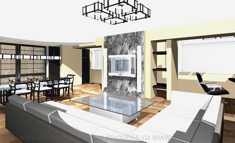 Камин в стиле хай-тек. Проект интерьеров квартиры в СТУПИНО
