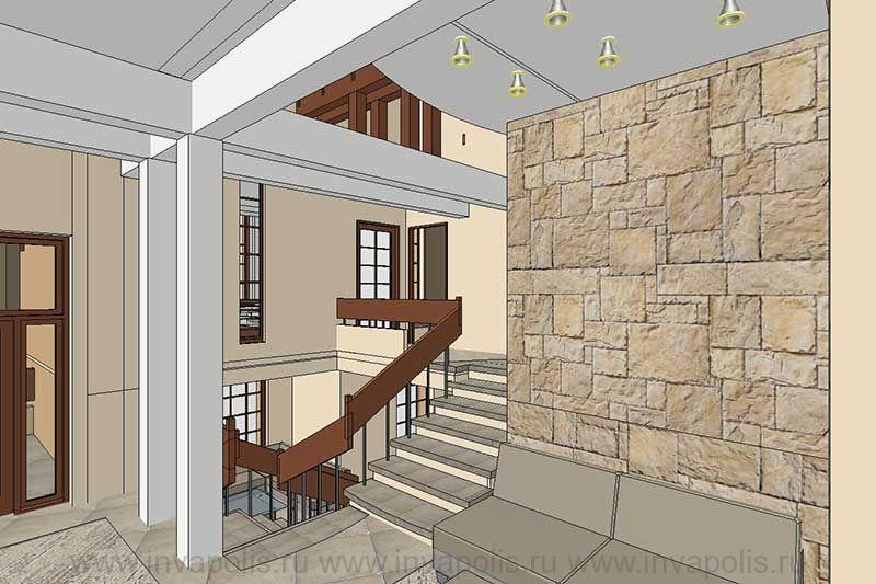 Конструкции несущих колонн и балок  в интерьерах четырехуровневого особняка В СТУПИНО