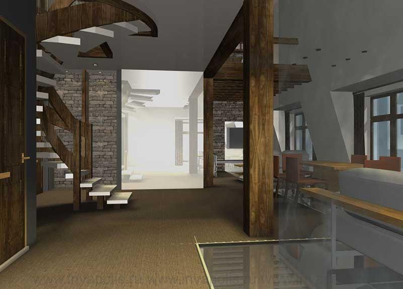 Конструкции несущих колонн и балок в интереьерах двухуровневой квартиры. КОНКУРС NEUHAUS