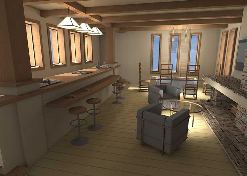 Кухня-столовая в интерьерах дома В СТИЛЕ ЛЛОЙДА РАЙТА