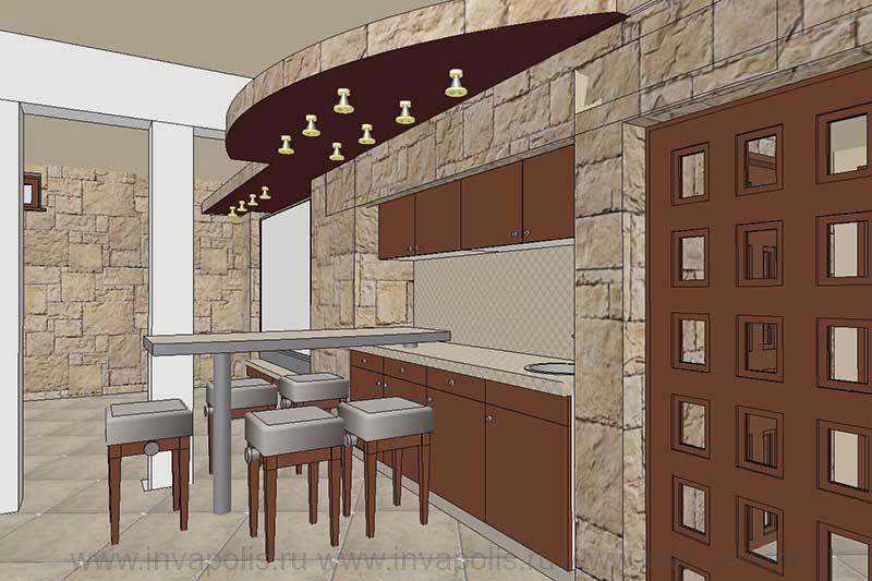 Мини-кухня в кинотеатре цокольного уровня интерьеров дома Янтарь