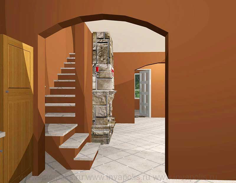 Полузабежная деревянная лестница в проекте интерьеров дома УЗКИЙ