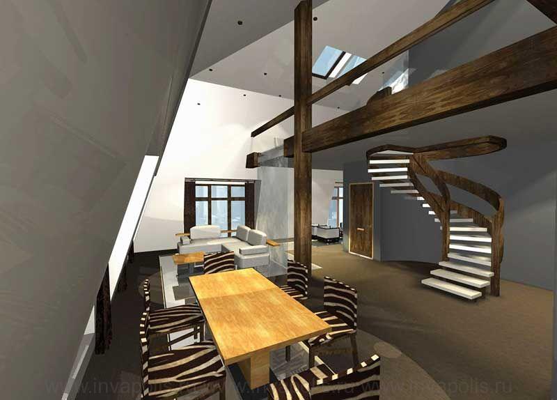 Винтовая деревянная лестница в проекте интерьера двухуровневой квартиры. КОНКУРС NEUHAUS