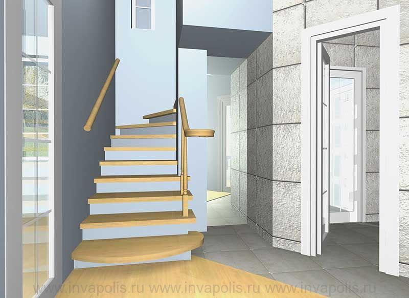 Деревянная забежная лестница в проекте интерьера дома КОМФОРТ (100 квадратов)