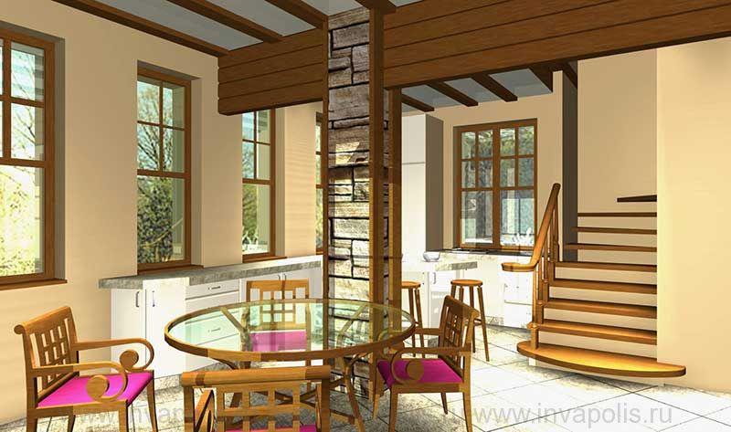 Деревянная забежная лестница в проекте интерьеров дома ТИРОЛЬ