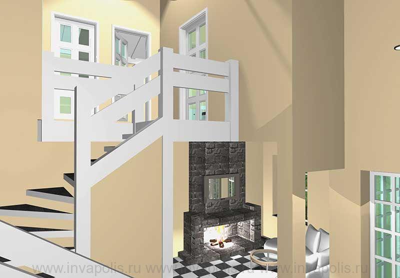 Деревянная забежная лестница в проекте интерьеров коттеджа КРОХА