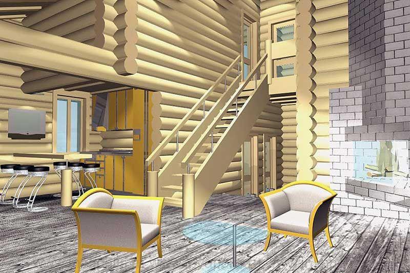 Деревянная однопролетная лестница в проекте интерьеров сруба АНДРЕАПОЛЬ