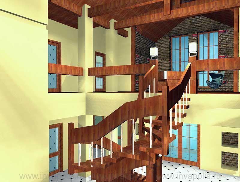 Деревянная полуспиральная лестница в проекте интерьеров  коттеджа ГИЛЬДИЯ
