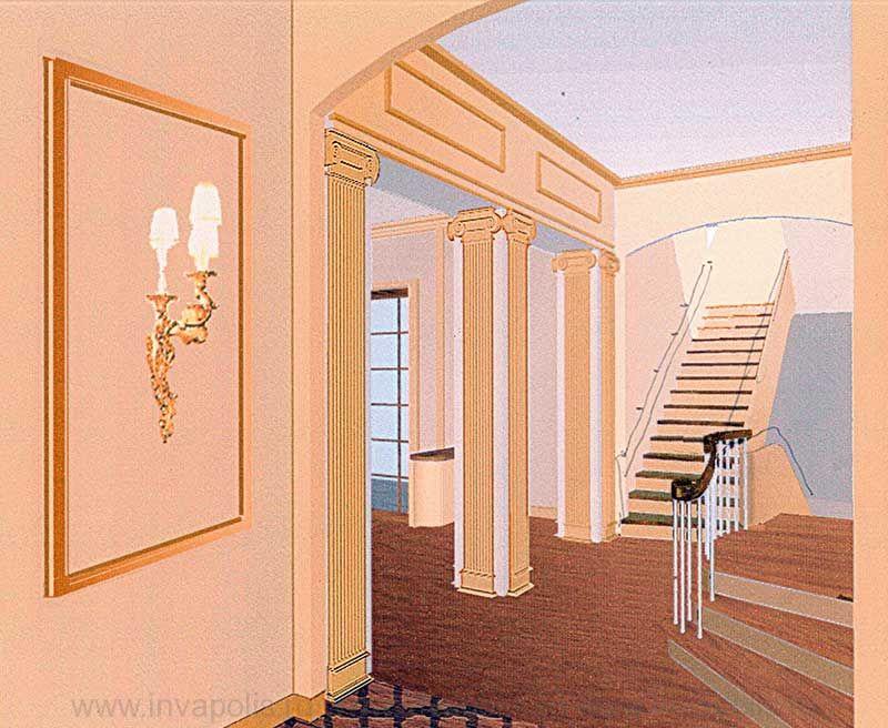 Классическая лестница с мраморными ступенями в проекте интерьера десятикомнатной квартиры НА АРБАТЕ