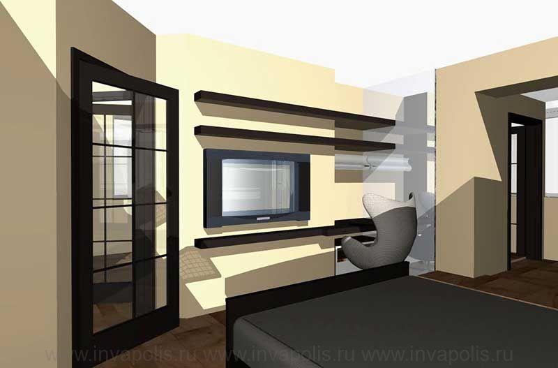 Спальня хозяина квартиры с гардеробной и ванной комнатами. Проект интерьеров квартиры в СТУПИНО
